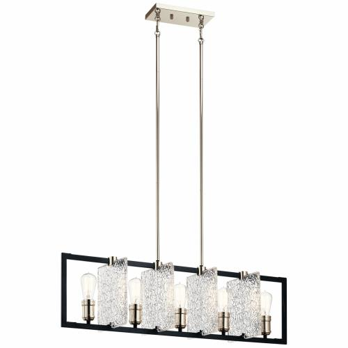 Kichler Lighting 43977BK Forge - 5 light Linear Chandelier - with Vintage Industrial inspirations - 10.75 inches tall by 9 inches wide