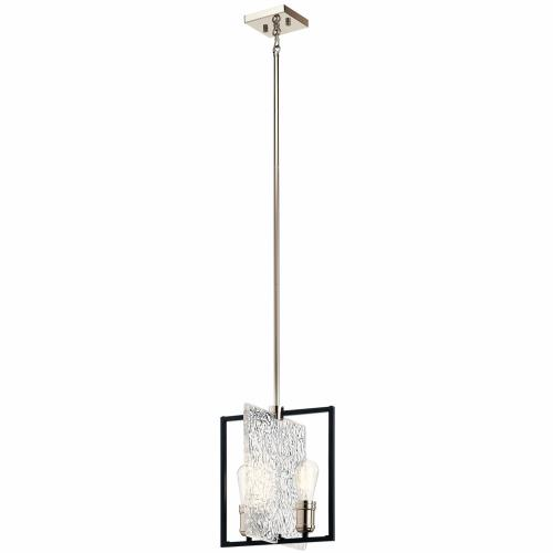 Kichler Lighting 43979BK Forge - 2 light Pendant - with Vintage Industrial inspirations - 12.25 inches tall by 12 inches wide