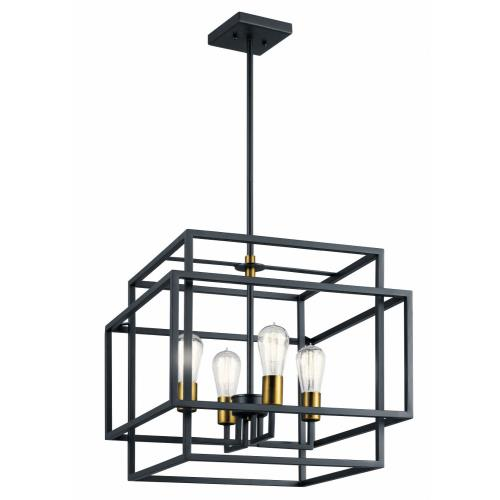 Kichler Lighting 43984BK Taubert - 4 light Pendant - 16.5 inches tall by 18 inches wide