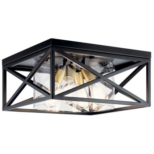 Kichler Lighting 44084 Moorgate - 4 Light Flush Mount - with Lodge/Country/Rustic inspirations - 8 inches tall by 16 inches wide