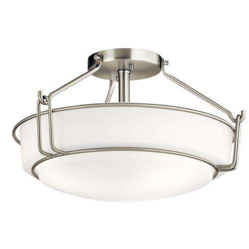 Kichler Lighting 44085 Alkire - 3 light Semi-Flush Mount - with Transitional inspirations - 9.25 inches tall by 16.5 inches wide
