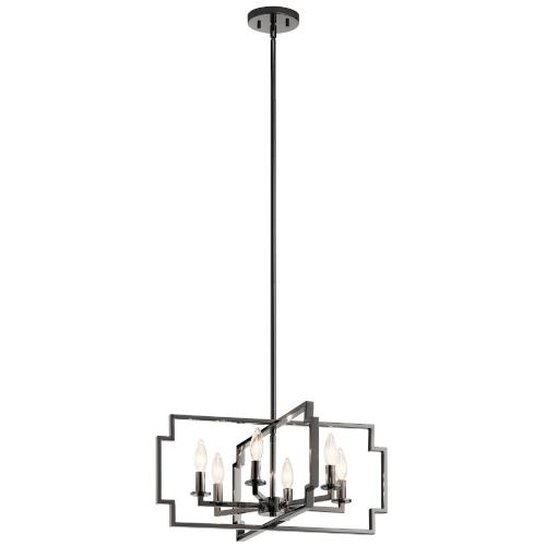 Kichler Lighting 44128 Downtown Deco - 6 Light Convertible Chandelier - with Transitional inspirations - 10.75 inches tall by 21.5 inches wide