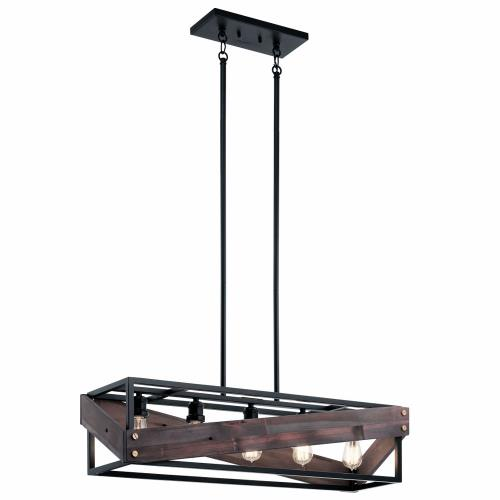 Kichler Lighting 44222BK Fulton Cross - 5 light Single Linear Chandelier - with Lodge/Country/Rustic inspirations - 9.5 inches tall by 10.5 inches wide