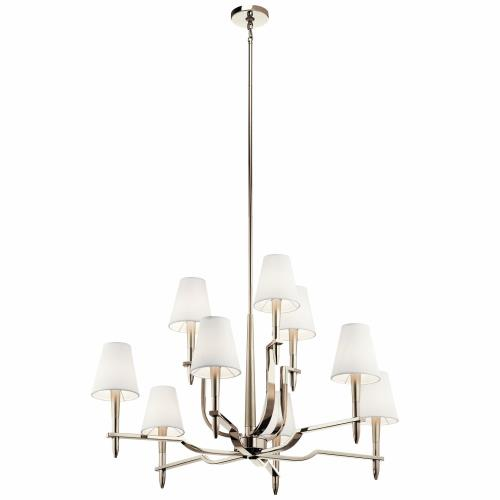 Kichler Lighting 44311PN Kinsey - 9 light 2-Tier Chandelier - with Transitional inspirations - 25.5 inches tall by 38.75 inches wide