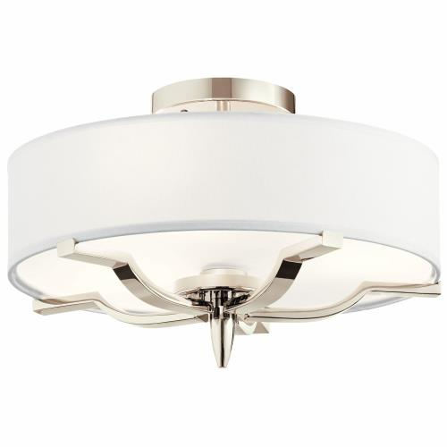 Kichler Lighting 44314PN Kinsey - 3 light Flush Mount - with Transitional inspirations - 9.25 inches tall by 15 inches wide