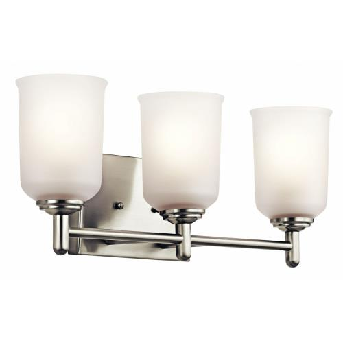 Kichler Lighting 45574 Shailene - 3 Light Bath Vanity Approved for Damp Locations - with Transitional inspirations - 8.25 inches tall by 21 inches wide