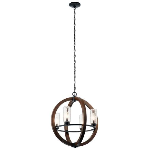 Kichler Lighting 49791 Grand Bank - 4 light Outdoor Chandelier - with Lodge/Country/Rustic inspirations - 23 inches tall by 20 inches wide