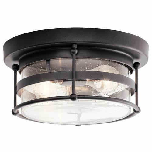 Kichler Lighting 49965AVI Mill Lane - 2 light Outdoor Flush Mount - with Coastal inspirations - 6 inches tall by 12.25 inches wide