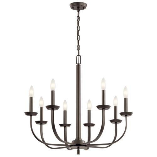 Kichler Lighting 52388 Kennewick - 8 Light Chandelier - with Traditional inspirations - 25 inches tall by 27.25 inches wide