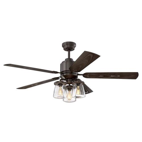 "Litex COS52OSB5CR Andrus - 52"" Three Light Ceiling Fan - Rated for Damp Locations"