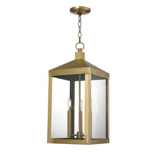 Livex Lighting 2058 Nyack - 3 Light Outdoor Pendant Lantern in Nyack Style - 10.5 Inches wide by 24 Inches high
