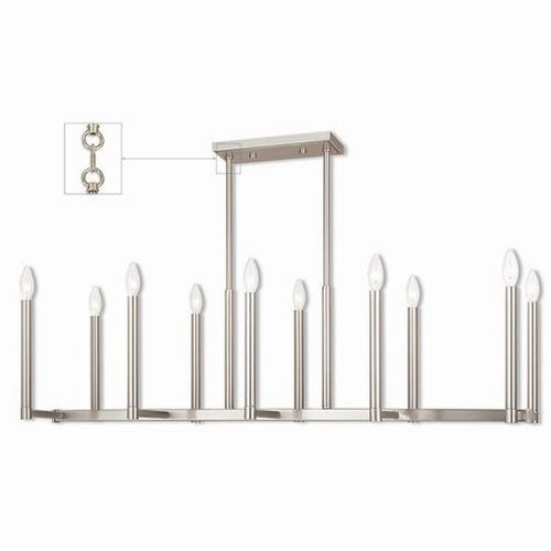Livex Lighting 40259 Alpine - 10 Light Linear Chandelier in Alpine Style - 16 Inches wide by 18.5 Inches high