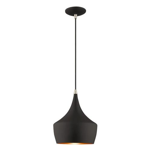 Livex Lighting 41186 Metal Shade - 1 Light Mini Pendant in Metal Shade Style - 9.5 Inches wide by 17 Inches high