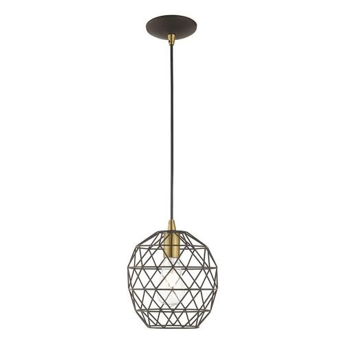 Livex Lighting 41326 Geometric Shade - One Light Mini Pendant in Geometric Shade Style - 8 Inches wide by 13 Inches high