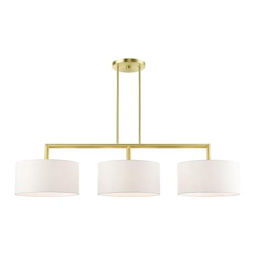 Livex Lighting 45493 Meridian - 3 Light Linear Chandelier in Meridian Style - 14 Inches wide by 18.25 Inches high