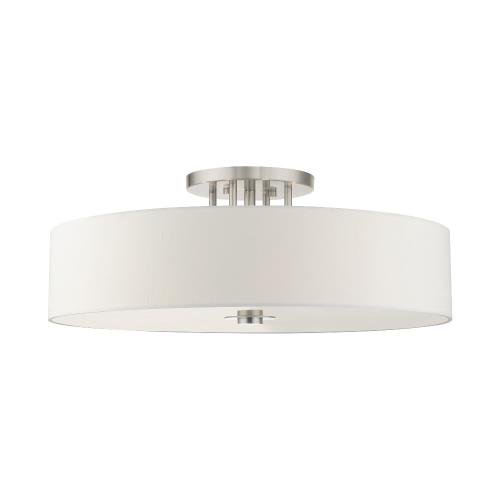 Livex Lighting 45798-91 Meridian - 6 Light Semi-Flush Mount in Meridian Style - 30 Inches wide by 11.25 Inches high