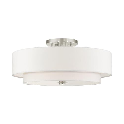 Livex Lighting 45799-91 Meridian - 6 Light Semi-Flush Mount in Meridian Style - 30 Inches wide by 13.5 Inches high