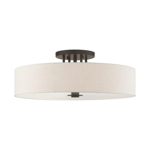 Livex Lighting 45848 Meridian - 6 Light Semi-Flush Mount in Meridian Style - 30 Inches wide by 11.25 Inches high