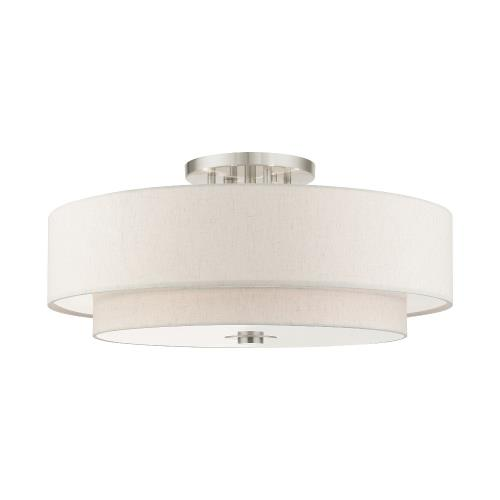 Livex Lighting 45849 Meridian - 6 Light Semi-Flush Mount in Meridian Style - 30 Inches wide by 13.5 Inches high