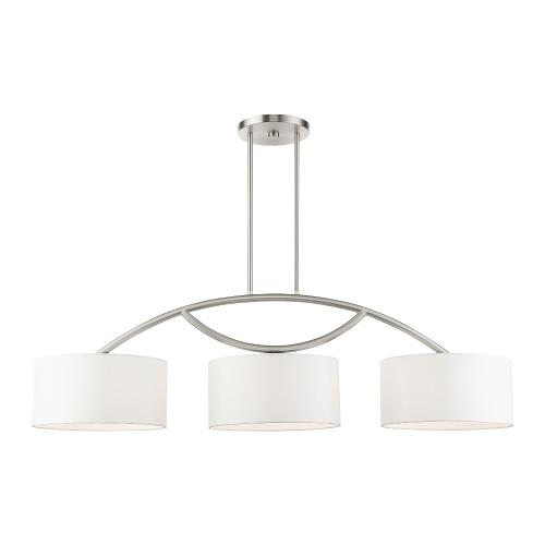 Livex Lighting 45983-91 Meridian - 3 Light Linear Chandelier in Meridian Style - 14 Inches wide by 21.5 Inches high