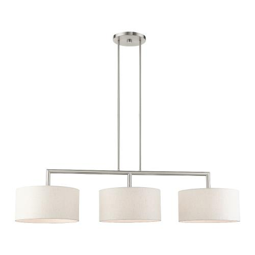 Livex Lighting 49293 Meridian - 3 Light Linear Chandelier in Meridian Style - 14 Inches wide by 18.25 Inches high