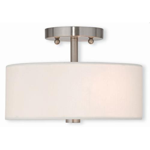 Livex Lighting 51052-91 Meridian - 2 Light Semi-Flush Mount in Meridian Style - 11 Inches wide by 7.5 Inches high
