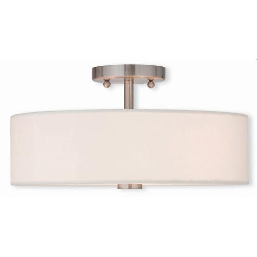 Livex Lighting 51054-91 Meridian - 3 Light Semi-Flush Mount in Meridian Style - 15 Inches wide by 8.13 Inches high