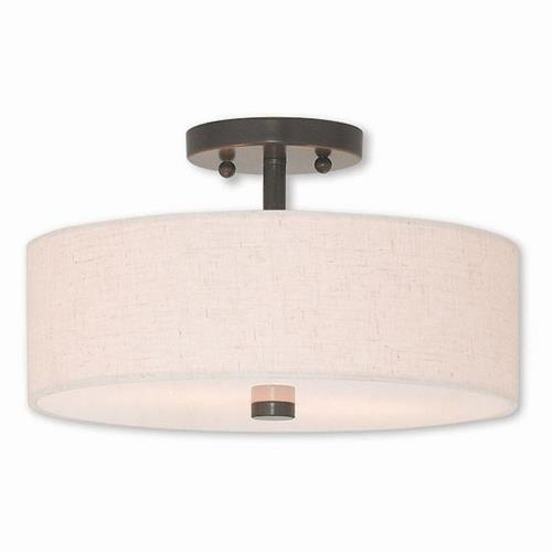 Livex Lighting 52134 Meridian - 2 Light Semi-Flush Mount in Meridian Style - 13 Inches wide by 7.5 Inches high
