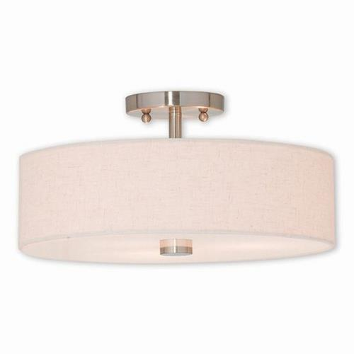 Livex Lighting 52135 Meridian - 3 Light Semi-Flush Mount in Meridian Style - 15 Inches wide by 8.13 Inches high