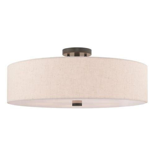 Livex Lighting 52141 Meridian - 5 Light Semi-Flush Mount in Meridian Style - 22 Inches wide by 9 Inches high