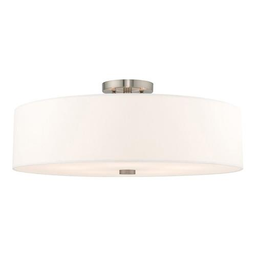 Livex Lighting 52142-91 Meridian - 5 Light Semi-Flush Mount in Meridian Style - 22 Inches wide by 9 Inches high