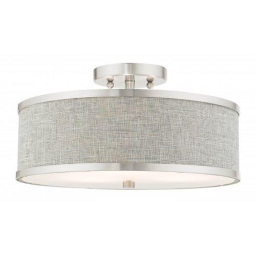 Livex Lighting 60423-91 Park Ridge - 3 Light Semi-Flush Mount in Park Ridge Style - 15 Inches wide by 7.5 Inches high