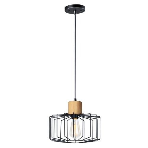 Maxim Lighting 10068BKNWD Bjorn-Mini Pendant 1 Light-11.5 Inches wide by 10 inches high