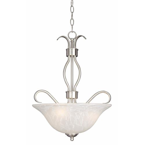 Maxim Lighting 10121ICSN Basix-Three Light Invert Bowl Pendant in Contemporary style-17 Inches wide by 22.5 inches high