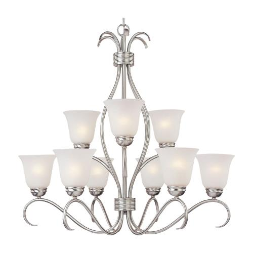 Maxim Lighting 10128ICSN Basix-Nine Light 2-Tier Chandelier in Contemporary style-32 Inches wide by 32.75 inches high