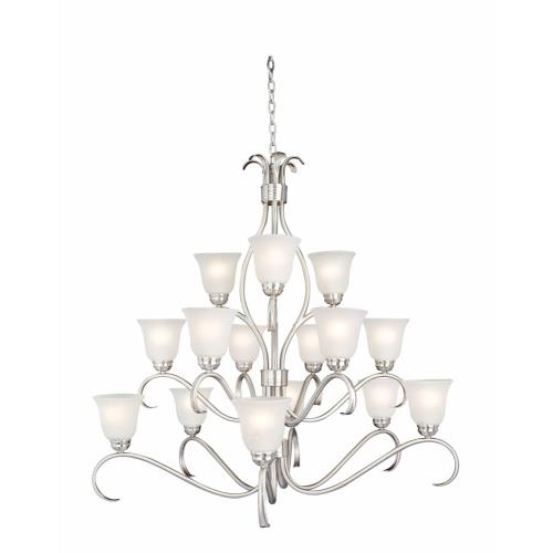 Maxim Lighting 10129ICSN Basix-Fifteen Light 3-Tier Chandelier in Contemporary style-42 Inches wide by 40 inches high