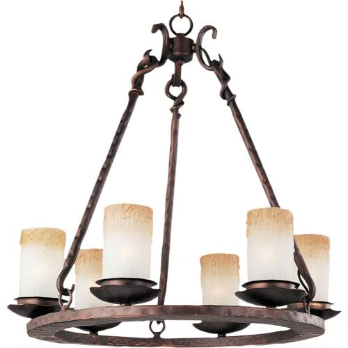 Maxim Lighting 10975WSOI Notre Dame-6 Light Chandelier in Mediterranean style-24 Inches wide by 24.5 inches high