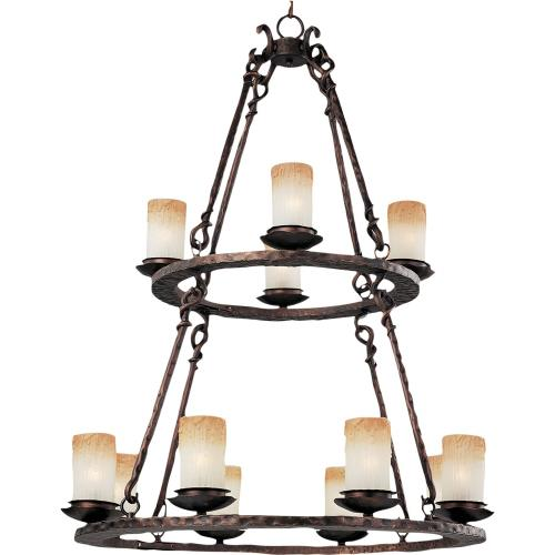Maxim Lighting 10977WSOI Notre Dame-12 Light 3-Tier Chandelier in Mediterranean style-32 Inches wide by 44 inches high