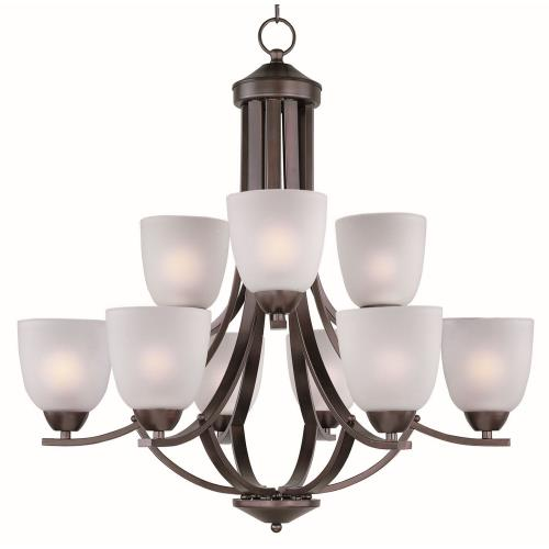 Maxim Lighting 11226FTOI Axis-Nine Light 2-Tier Chandelier in Transitional style-28 Inches wide by 26.5 inches high