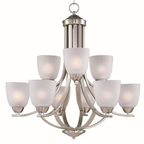 Maxim Lighting 11226FTSN Axis-Nine Light 2-Tier Chandelier in Transitional style-28 Inches wide by 26.5 inches high