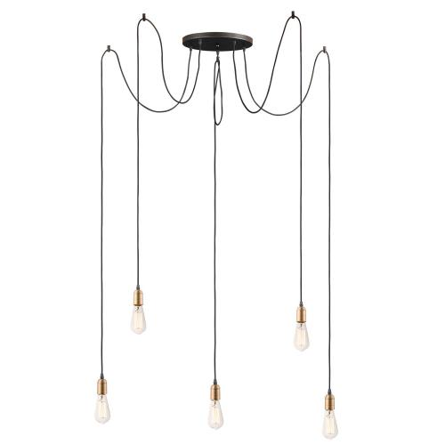 Maxim Lighting 12125BKAB Early Electric - 5 Light Pendant - 13.75 Inches wide by 3.25 inches high