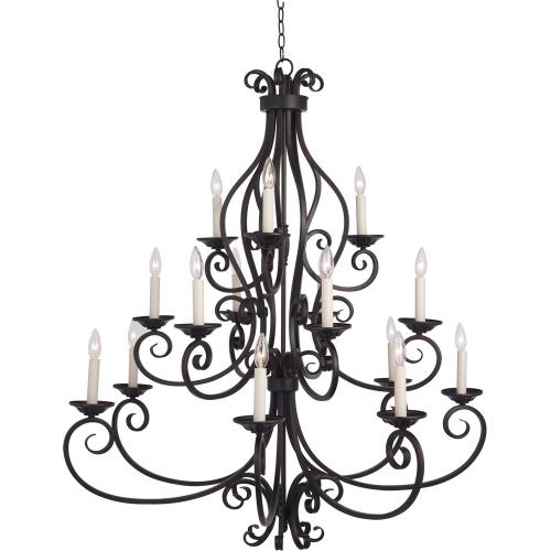 Maxim Lighting 12219 Manor - Fifteen Light 3-Tier Chandelier - 45 Inches wide by 47.5 inches high