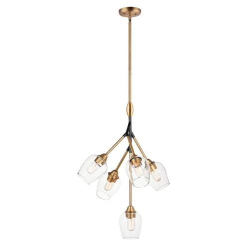 Maxim Lighting 26343CLABBK Savvy-Five Light Pendant-24.25 Inches wide by 30.5 inches high