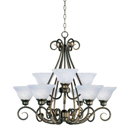 Maxim Lighting 2658MRKB Pacific-9 Light 2-Tier Chandelier in Transitional style-30.5 Inches wide by 27.25 inches high