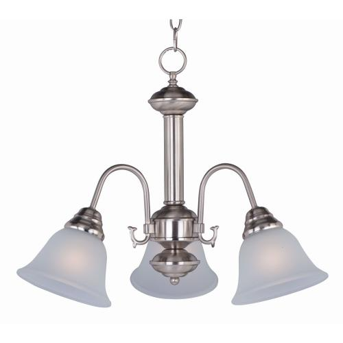 Maxim Lighting 2697FTSN Malaga-Three Light Chandelier in Transitional style-20 Inches wide by 15.5 inches high