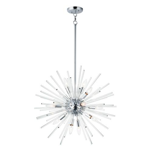 Maxim Lighting 28664CLPC Polaris - Twelve Light Pendant in Builder style - 25 Inches wide by 23 inches high