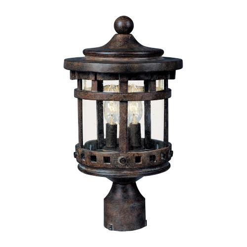 Maxim Lighting 3137 Santa Barbara DC-Three Light Outdoor Pole/Post Mount in Craftsman style-11 Inches wide by 18.5 inches high