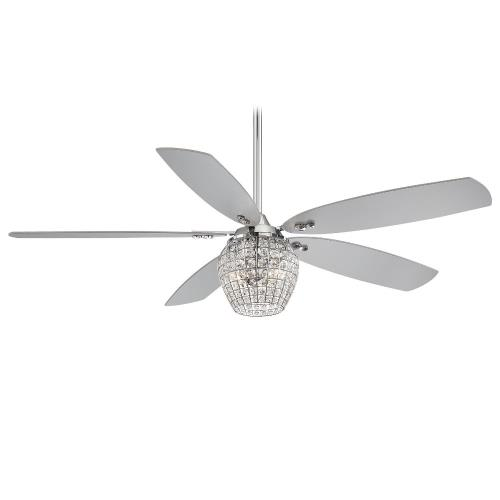 Minka Aire Fans F902L-CH Bling - Ceiling Fan with Light Kit in Transitional Style - 18 inches tall by 56 inches wide