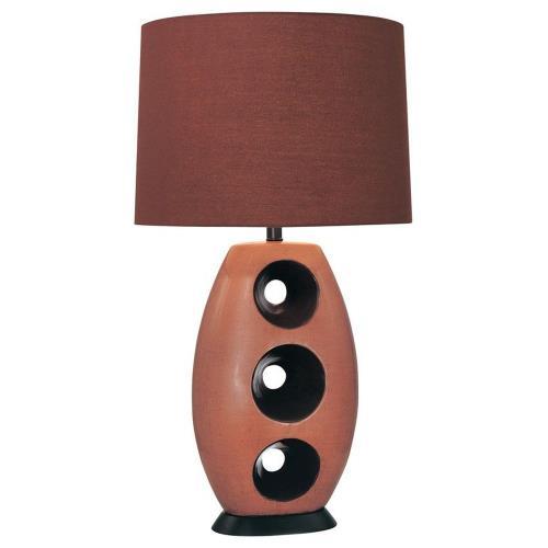 Minka Lavery 10191-0 1 Light Table Lamp Fabric Base with Mahagony Fabric Shade