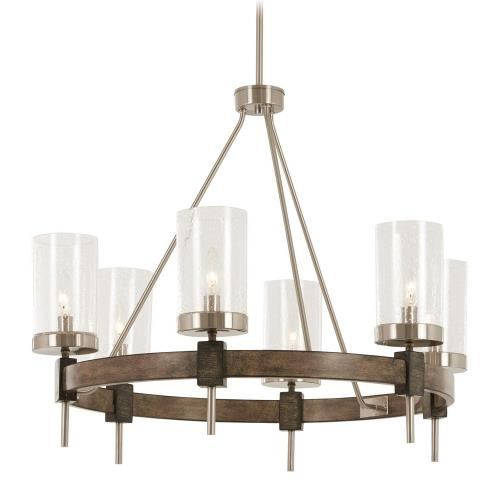 Minka Lavery 4636-106 Bridlewood - Chandelier 6 Light St1 Grey/Brushed Nickel in Transitional Style - 23 inches tall by 28 inches wide